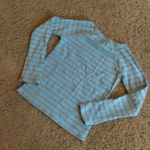 GAP Shirts & Tops - GAP blue shirt with sparkly silver stripes